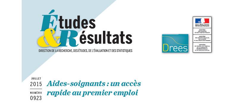 Parution DREES dans la Collection Études & Résultats du n° 923 juillet 2015 : profession aide-soignant